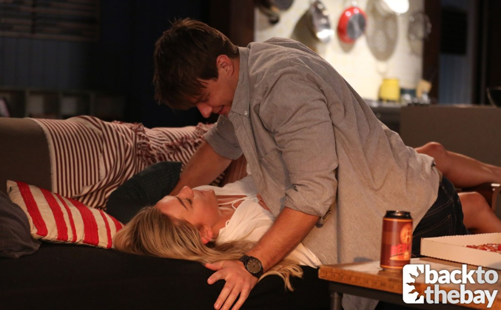 Colby lying on top of Jasmine in the latest Home and Away UK spoilers