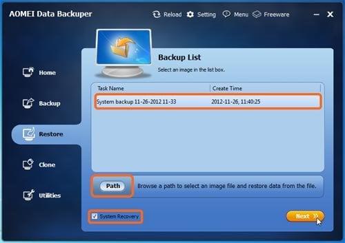 System Restore option #2