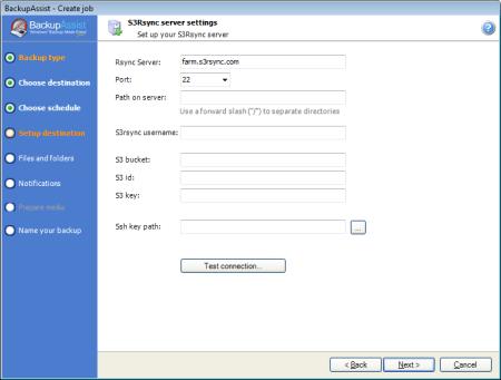 S3Rsync server settings screen