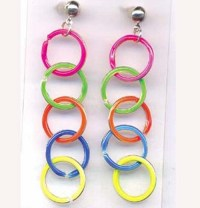 Neon rainbow earrings 1980's neon hoop pride earrings