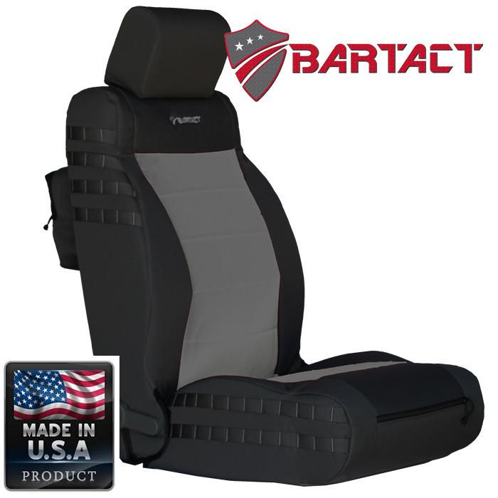 Jeep JK Seat Covers Front 07-10 Wrangler JK/JKU Tactical Series Not Air Bag Compliant Black/Graphite Bartact