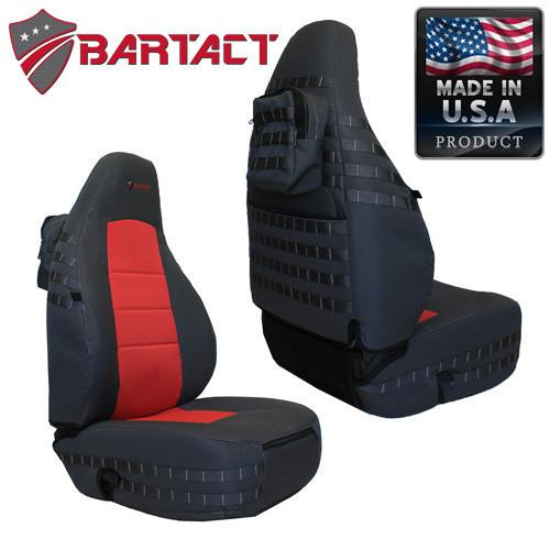 Jeep TJ Seat Covers Front 97-02 Wrangler TJ Tactical Series Graphite/Red Bartact