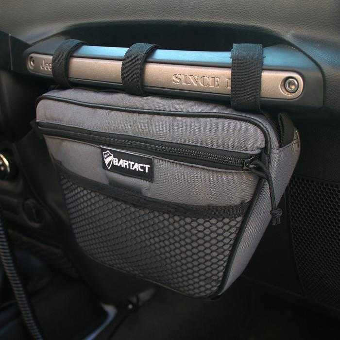 Jeep Wrangler Dash Bag Passenger Grab Handle Dash Bag Vinyl Graphite Bartact