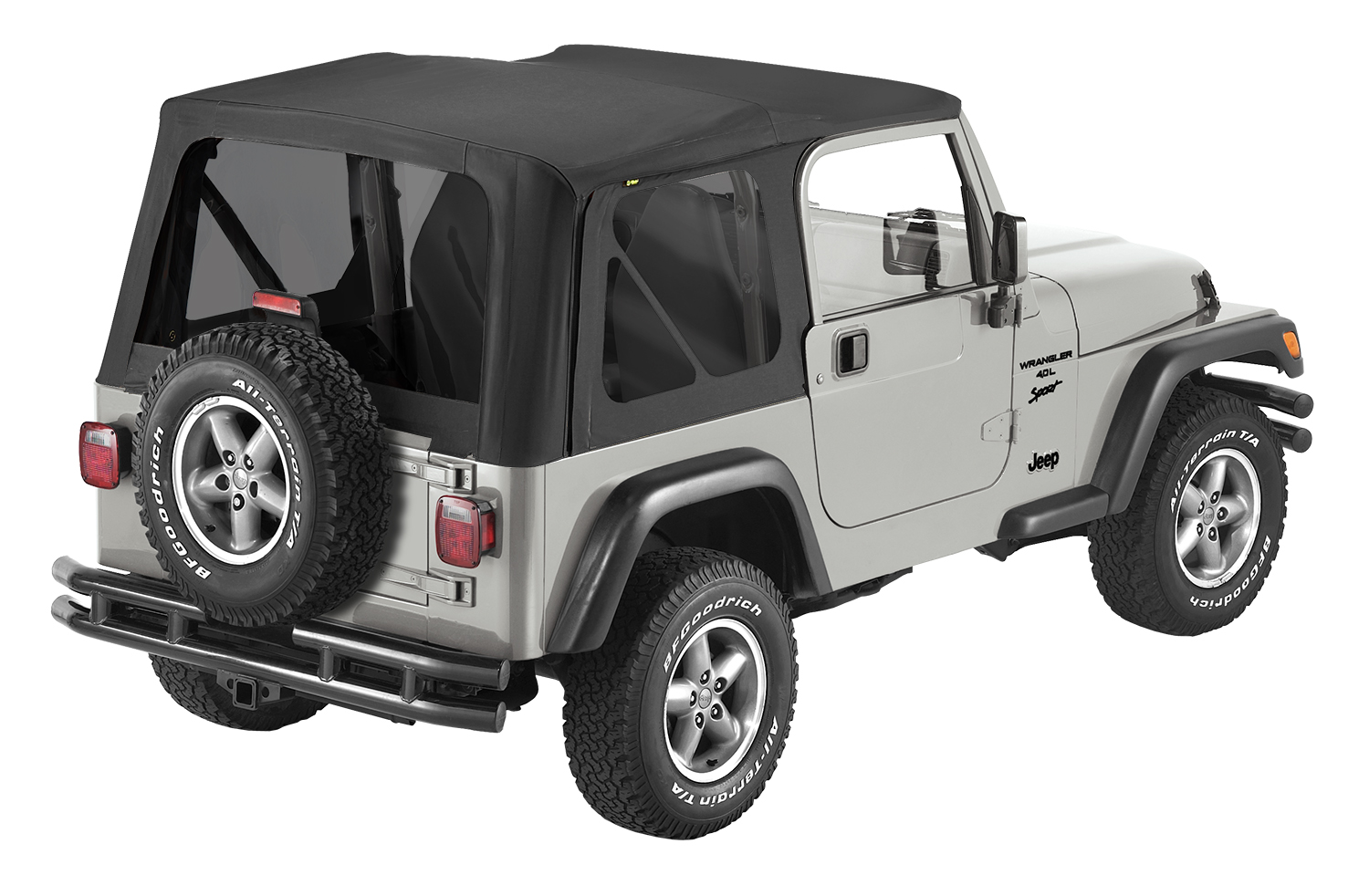 Jeep TJ Replace-A-Top Sailcloth For Full Steel Doors Tinted Windows 97-02 Jeep Wrangler TJ Black Kit Bestop