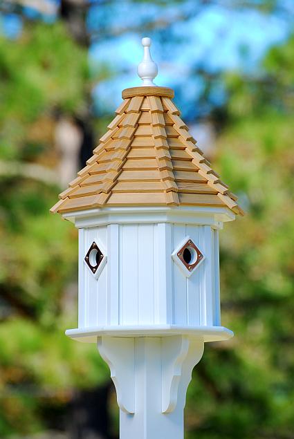 Classic Wood Shingle Slope Roof BirdhouseWhite Vinyl 34