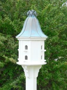 Copper Curly Roof Birdhouse in White VinylPVC 14inch
