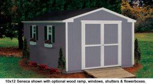 10x12 Seneca model shed in backyard