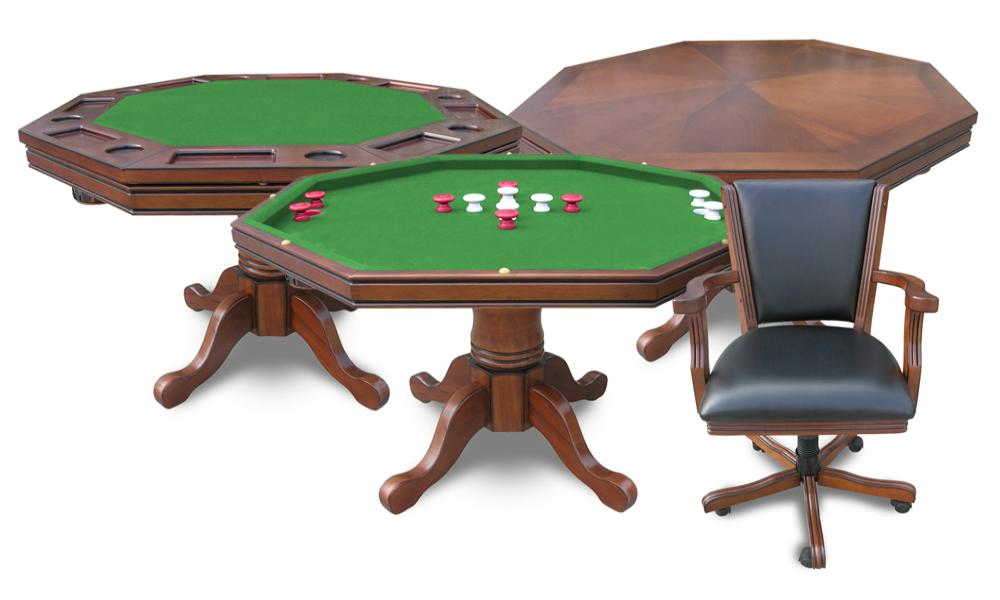 Harvil 3 In 1 Poker Table with 4 Chairs  3N1OAK
