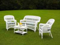 Tortuga Portside Coastal White Wicker Conversation Set ...
