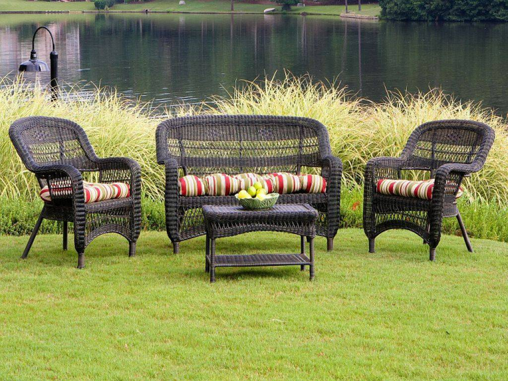 wicker patio chair set folding chairs for sale tortuga portside dark roast conversation ps4s