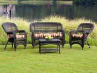 Tortuga Portside Dark Roast Wicker Conversation Set - PS4S ...