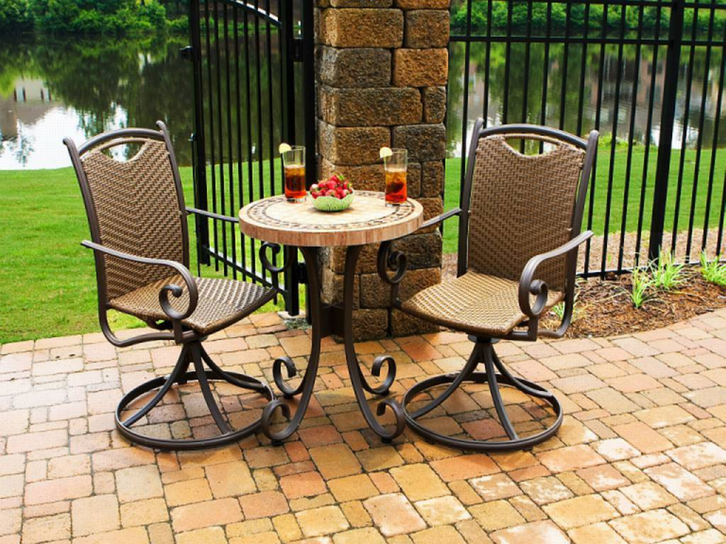 bistro set with swivel chairs for small spaces resin wicker outdoor dining sets