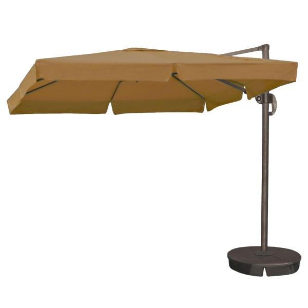 Island Umbrella Santorini Ii 10-ft Square Cantilever With Valance In Stone Sunbrella Acrylic
