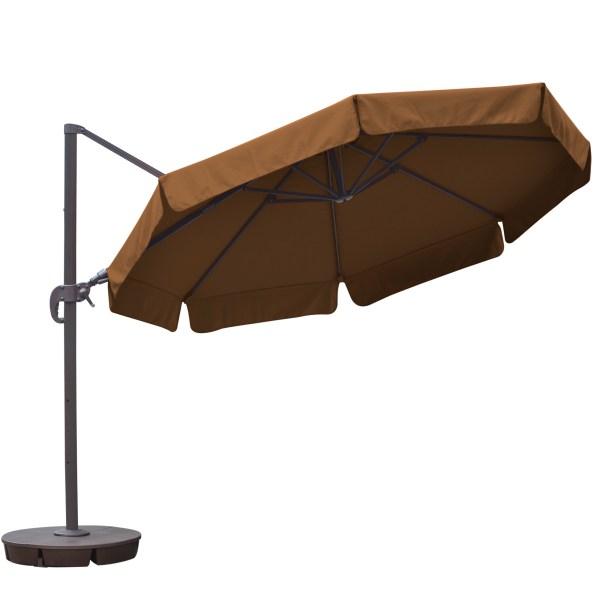 Island Umbrella Freeport 11-ft Octagonal Cantilever With Valance Patio In Stone Sunbrella