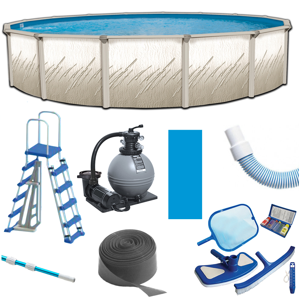 Its exclusive wall pattern reflects timeless style and taste and includes the following features: Puri Tech Bulldog Pretium 24ft Round 52 Inch Deep Above Ground Pool Kit