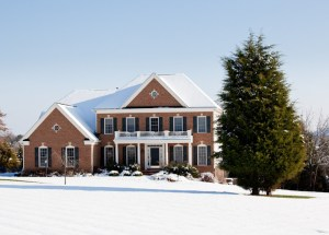Modern house in snow