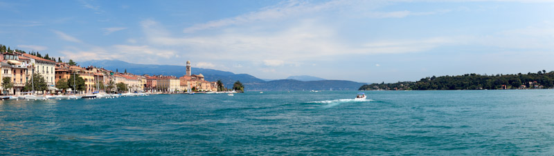 Panorama of Salo harbor on Lake Garda