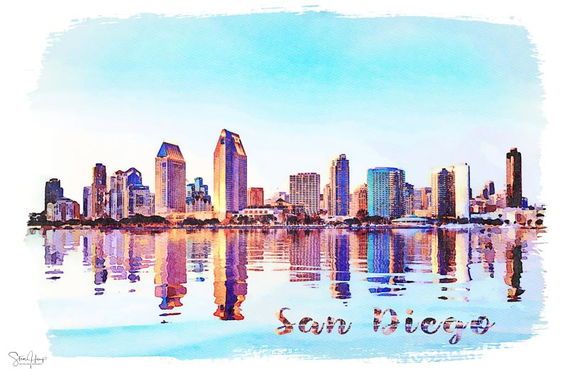 Digital watercolor painting of the tall skyscrapers of San Diego in California from Centennial Park in Coronado