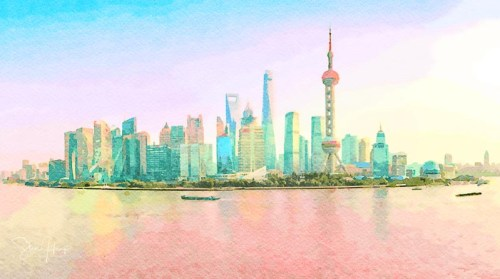 Water color of skyline of the city of Shanghai at sunset