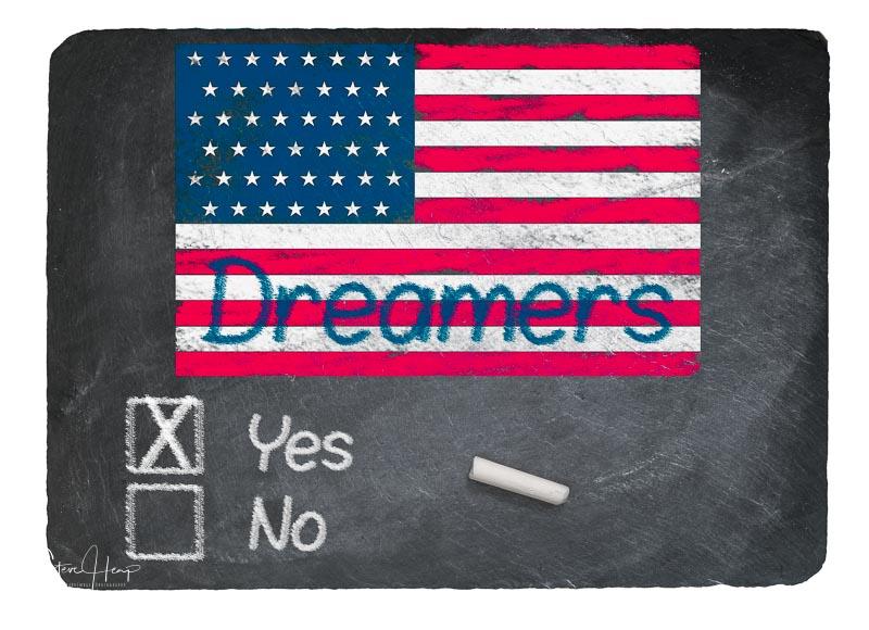Dreamers Yes concept using chalk on slate blackboard