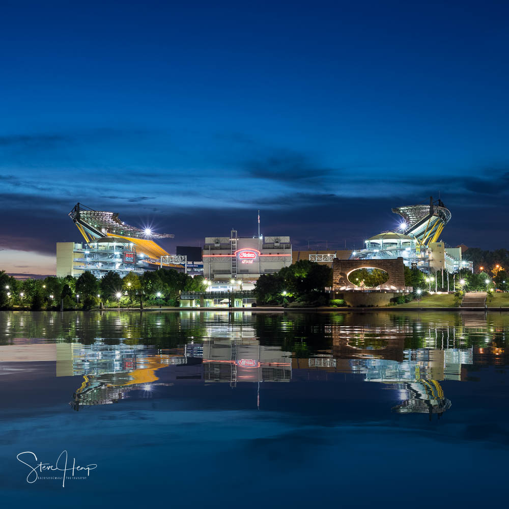 Heinz field in Pittsburgh - the home of the Pittsburgh Steelers with an artificial water reflection