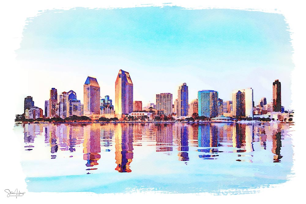 Digital water color painting of San Diego skyline