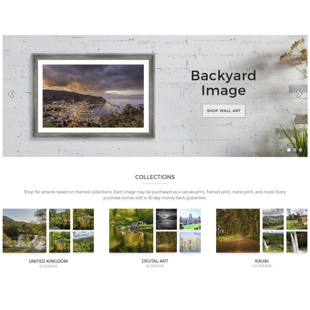 New user interface at fine art america website for showing off prints and designs