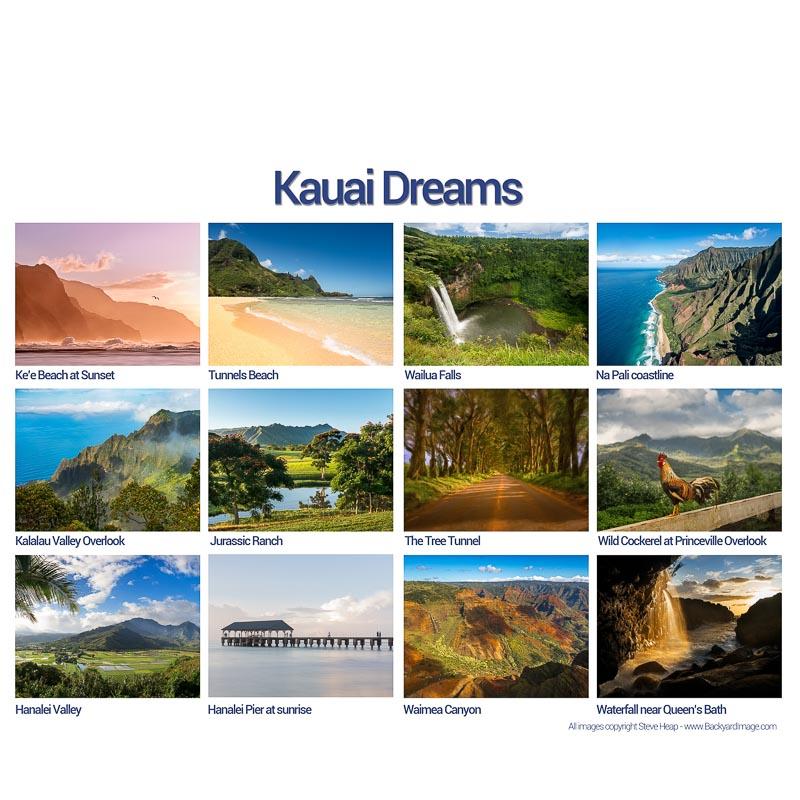 Selling calendars of high quality fine art photographs of Kauai