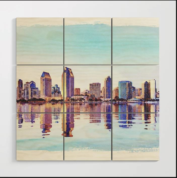 Digital painting of San Diego skyline recently sold on Society6