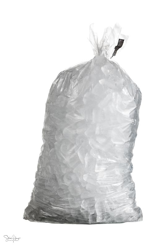 Simple image of a bag of ice against a white background
