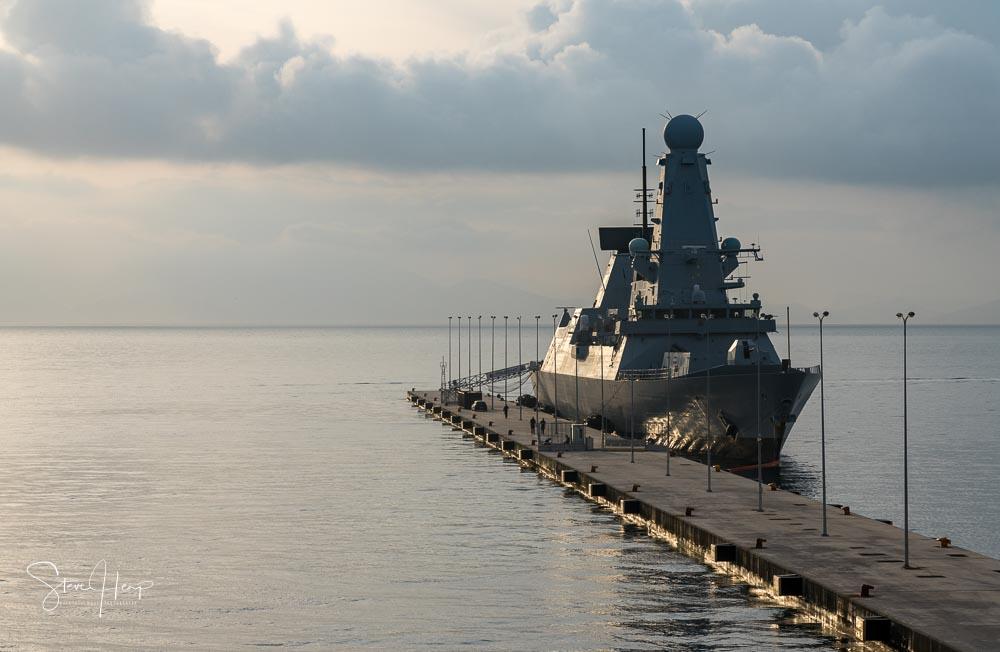 British royal navy warship in dock in Corfu stock photo
