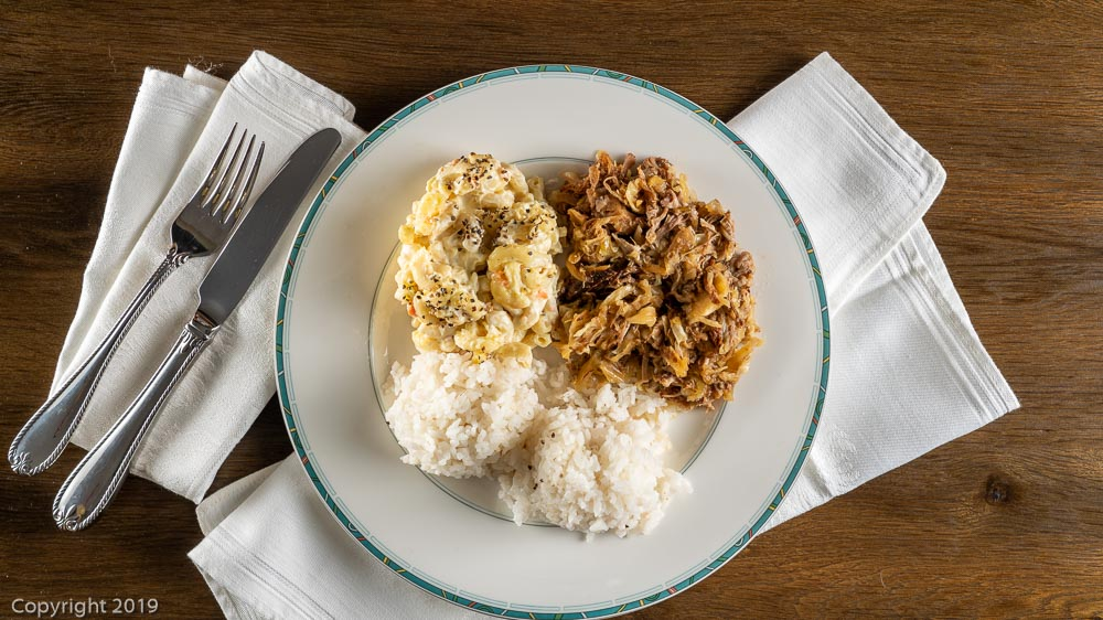 Kalua pig with white rice and macaroni salad