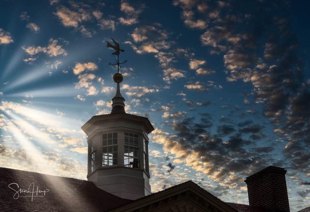 Over the top addition of sky plus sunrays to an image from Mount Vernon