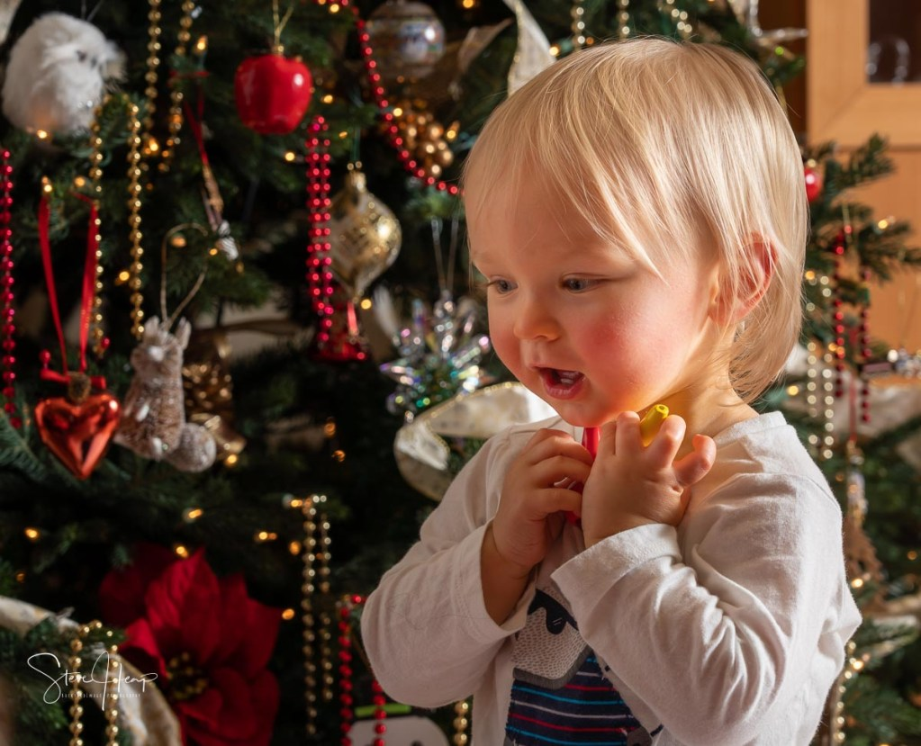 Joy at Christmas time with young child in front of the Xmas tree with an excited expression