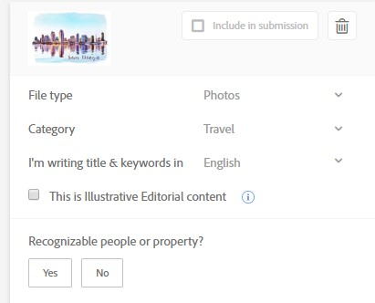 Adobe stock contributor upload page showing the Illustrative Editorial check box