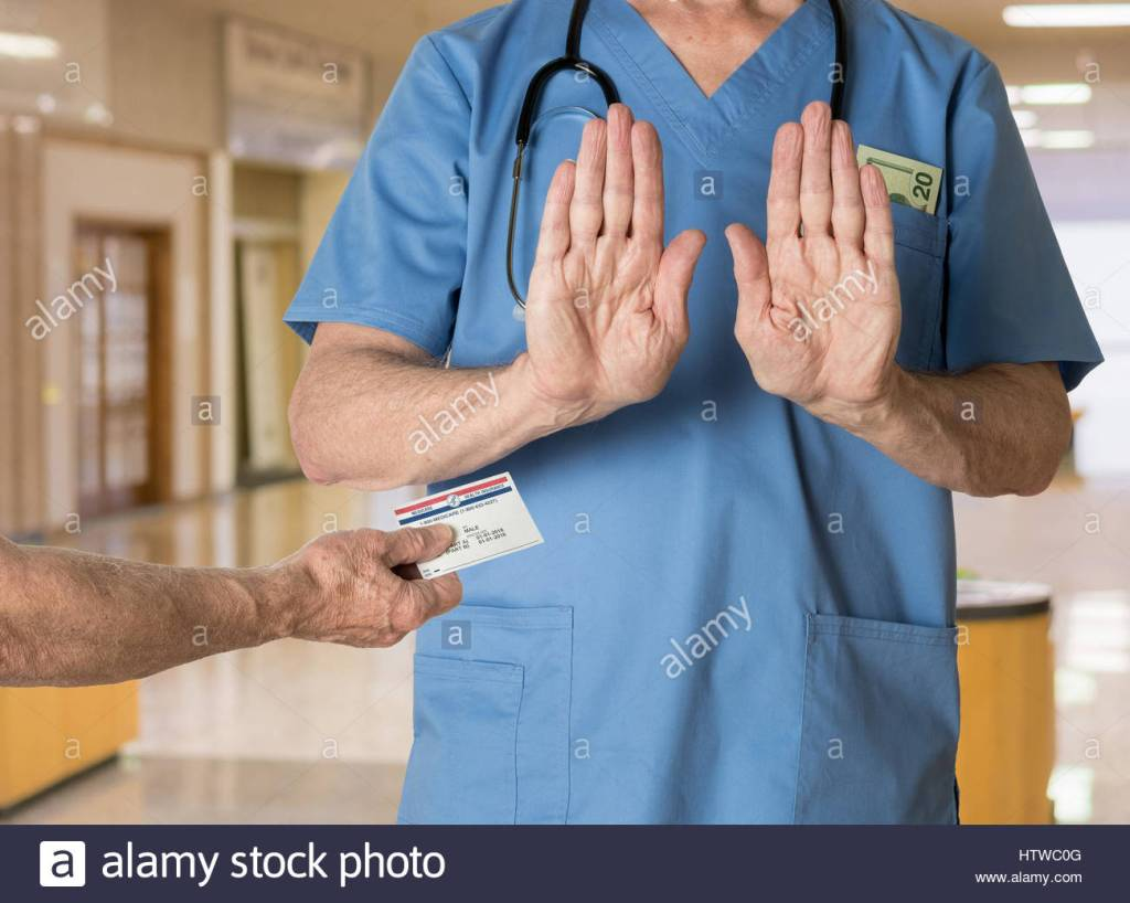 Is medicare accepted at all hospitals? Stock photo illustrating the refusal of a medicare card by a doctor looking for cash payments
