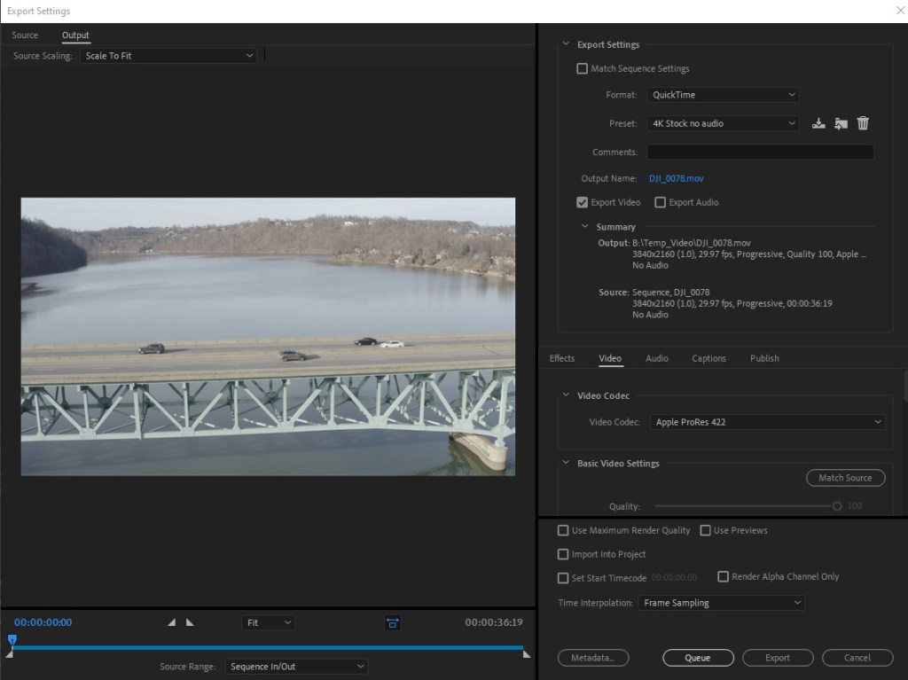 Export settings for Stock video in Premiere