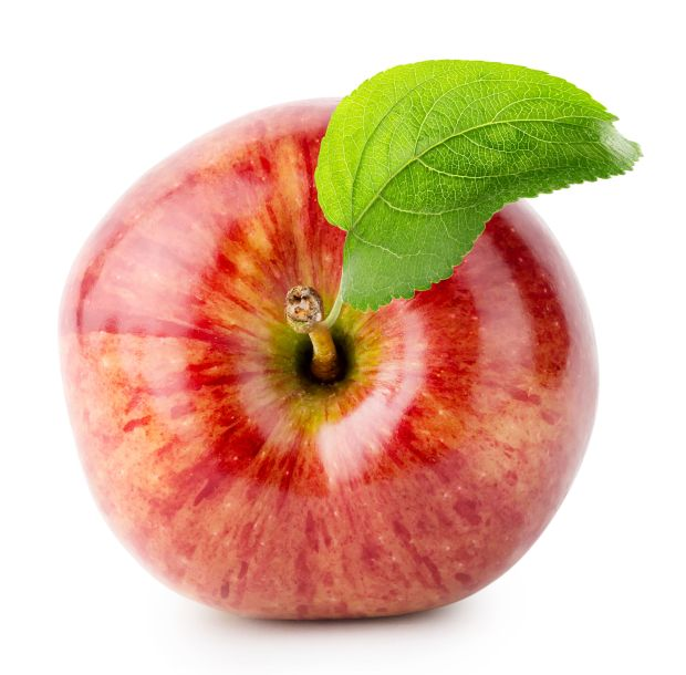 42116240 - shot from above red apple with green leaf isolated on white background