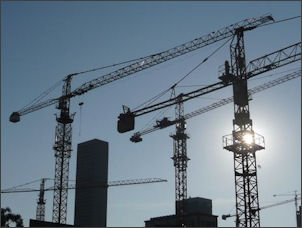 Construction cranes in Beirut, Lebanon. Image credit: the On the Road Again blog.