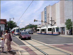 Rendering of a Columbia Pike streetcar.