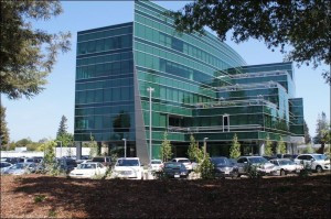 LinkedIn office building in Sunnyvale, Calif. --insulated from the street by a parking lot and a landscaping berm.
