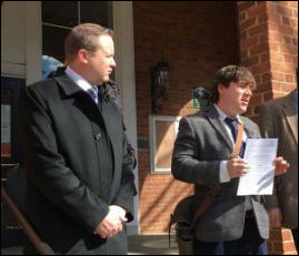 Corey Stewart (left) appeared last week with Jason Kessler, a conservative blogger-activist, after Kessler petitioned to remove the vice mayor of Charlottesville, Wes Bellamy, from office.