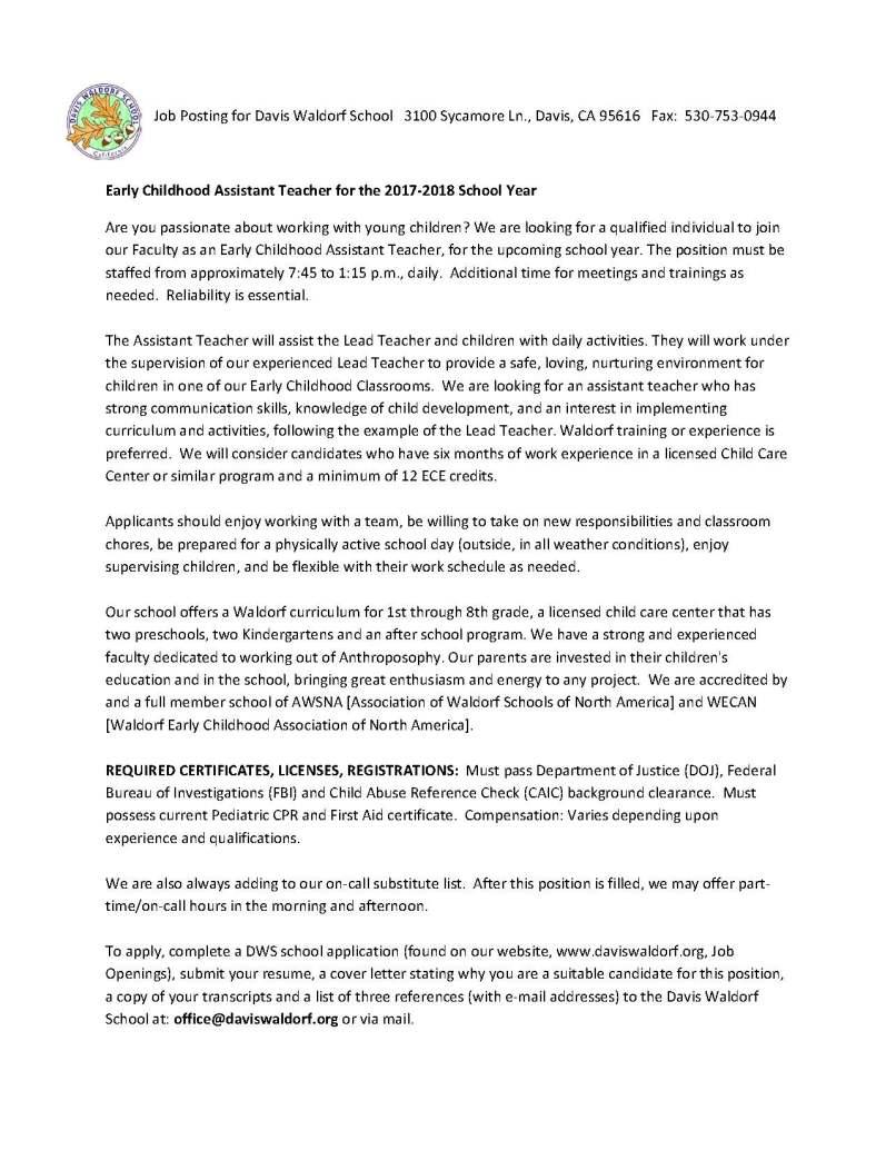 Cover Letter For Kindergarten Assistant | Amtletter.co