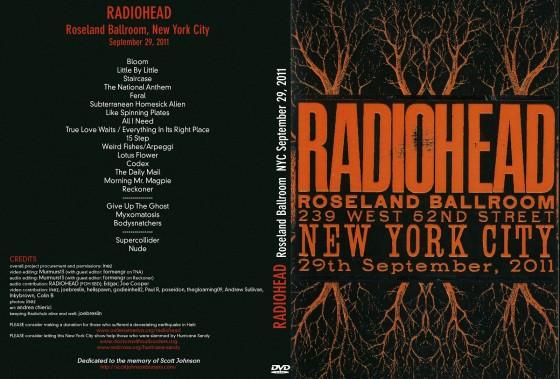 Radiohead - Scarica gratis il concerto Roseland Ballroom - artwork cover dvd