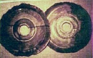 One of 'Wegener/Wegerer's' polaroids of two of the Dropa stones