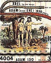The first humans, Adam and Eve, from Deacon's Synchronological Chart of Universal History, 1890