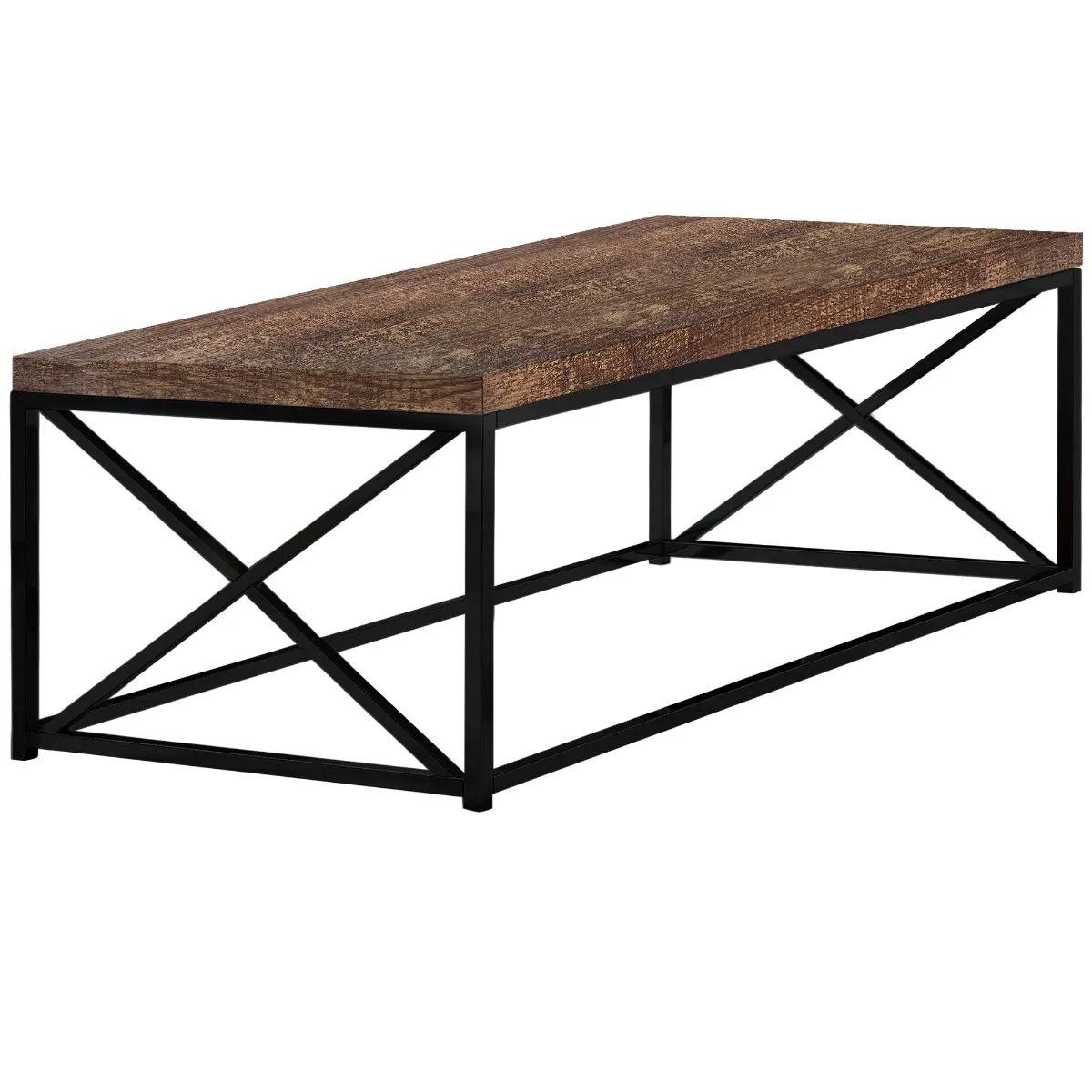 monarch coffee table brown reclaimed wood look black metal i3416