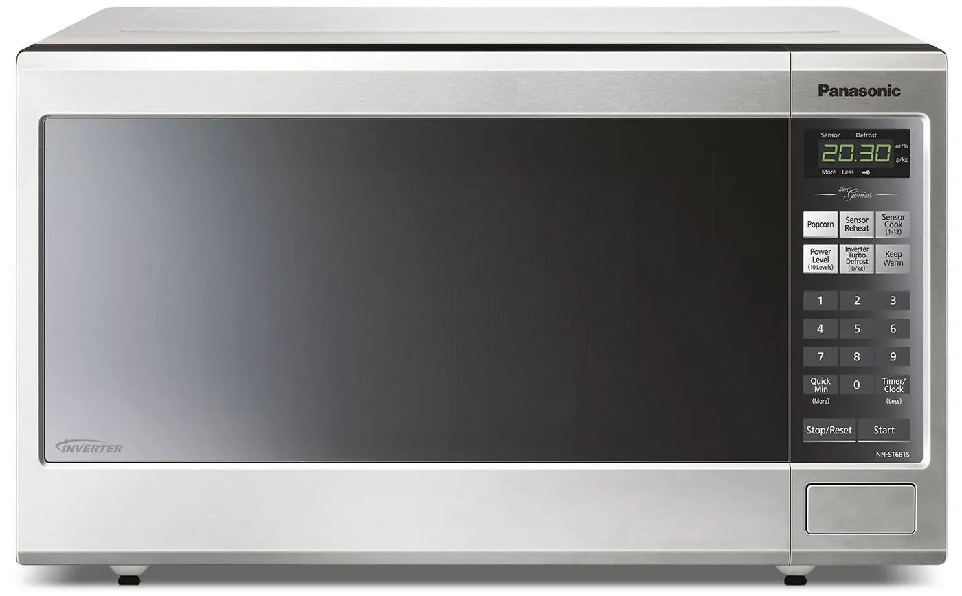 panasonic 20 inch 1 2 cu ft countertop microwave oven in stainless steel nnst681sc