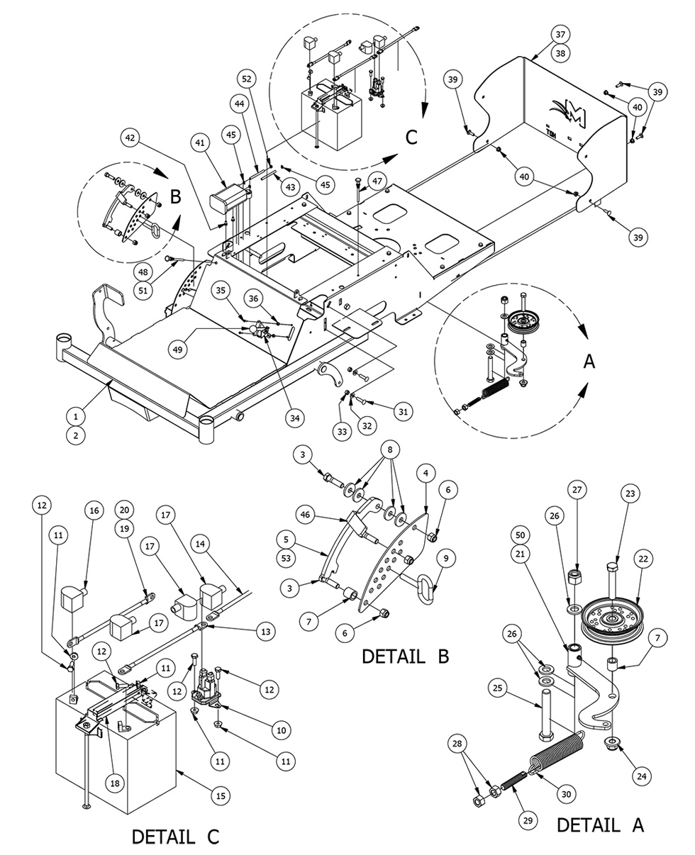 Bad Boy Mower Parts MZ Magnum Frame Assembly