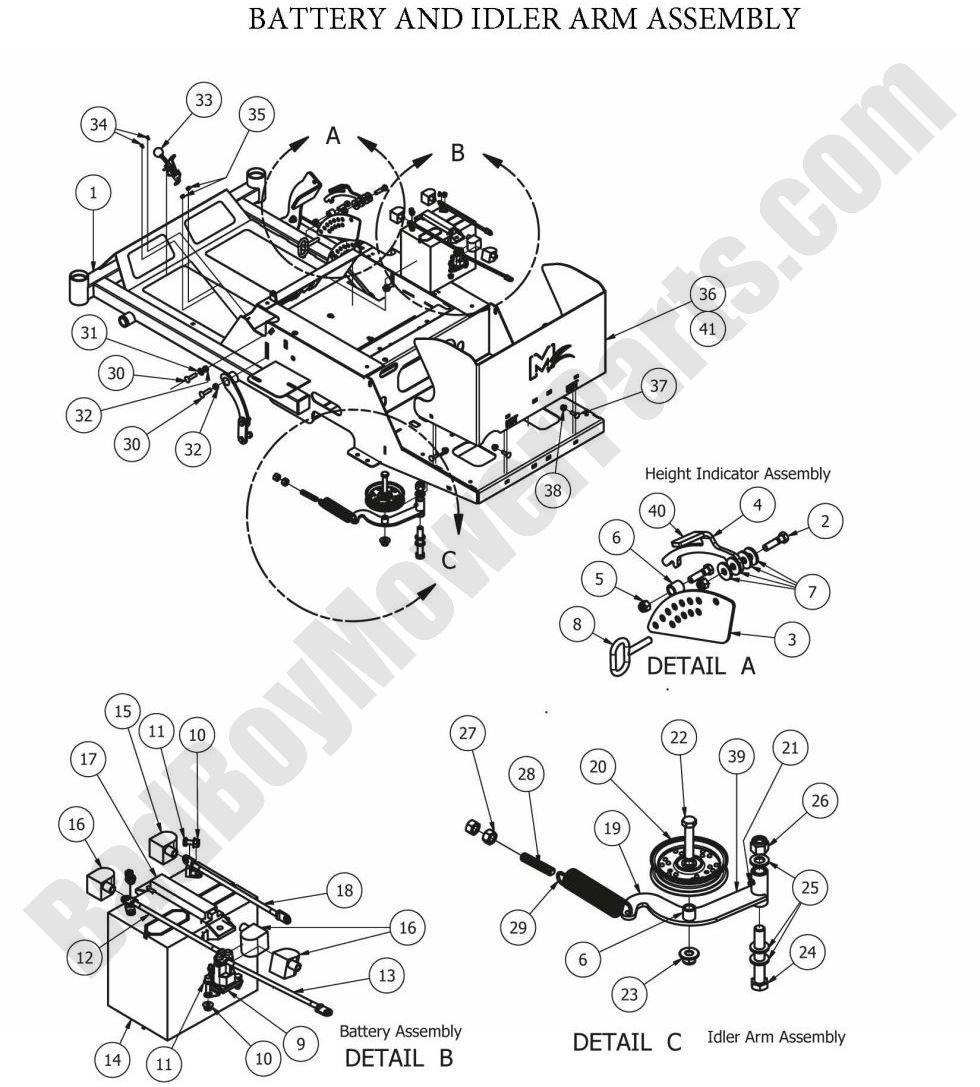 Bad Boy Parts Lookup 2012 MZ Battery & Idler Arm